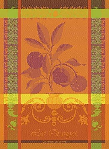Garnier-Thiebaut Les Oranges Sanguine French Jacquard KitchenTea Towel 100 Percent Cotton