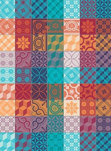 Garnier Thiebaut Mille Tiles 1000 Tiles Multicolor French Jacquard Kitchen Towel 100 Percent Cotton 22 Inches x 30 Inches