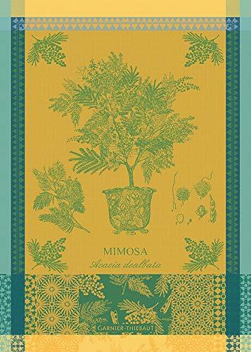 Garnier-Thiebaut Mimosa Jaune Potted Mimosa Tree Yellow French Jacquard KitchenTea Towel