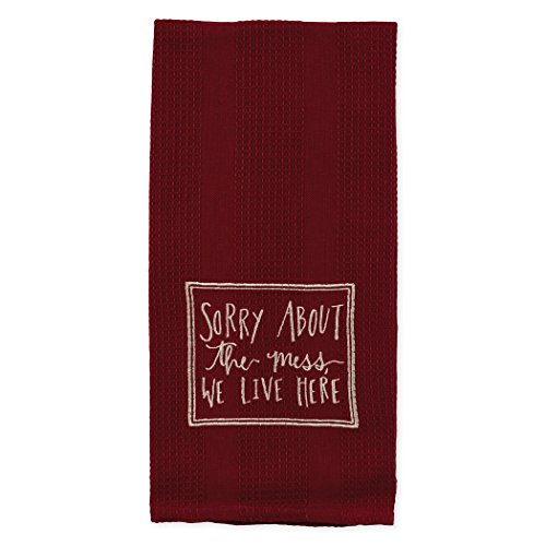 Burgundy Sorry About the Mess 19 x 28 Inch Embroidered Cotton Waffle Dish Towel
