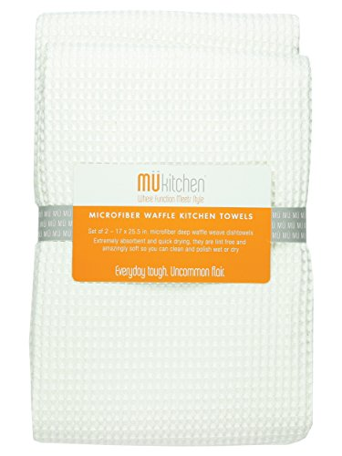 MUkitchen Microfiber Waffle Dishtowel 17 by 25-12 Inches Set of 2 White