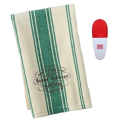 St Nicholas Square Happy Holidays Striped Kitchen Towel Chip Clip-2 Piece Set