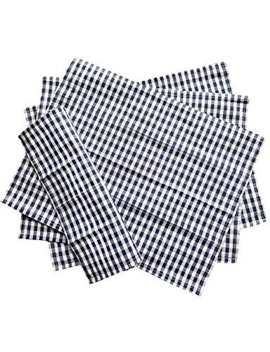 iToolai Navy White Checkered Kitchen Tea Towel Set of 4 100 Woven Cotton Washable Dish Cloth