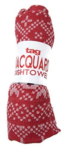 Holiday Snowflake Jacquard Dishtowel Tag 18 X 26 Red White