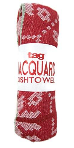 Holiday Snowflake Jacquard Dishtowel Tag 18 X 26 Red White Green