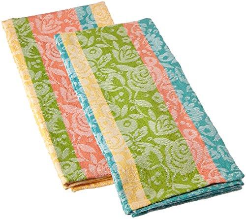 Tag 205573 Floral Jacquard Dishtowel Set Of 2 Multi pastel 18W x 26L