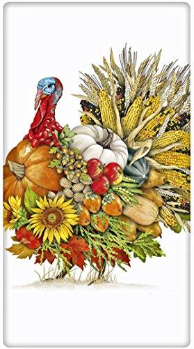 Autumn Thanksgiving Veggie Turkey 100 Cotton Flour Sack Dish Tea Towel - Mary Lake Thompson 30 x 30