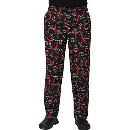 JXH Chef Uniforms mens red pepper printed 100 cotton black chef pants 2XL