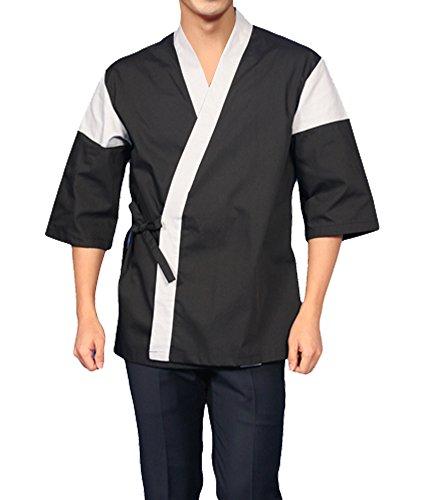 Black Chef Coat Jackets Sushi Restaurant Bar Clothes Uniform Japanese 4 Size B