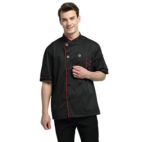 TOPTIE Short Sleeve Chef Jacket Kitchen Cook Coat Stripe Uniforms-Black-S