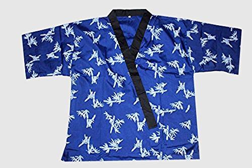 All Blue Bamboo Print Sushi Chef Uniform Large