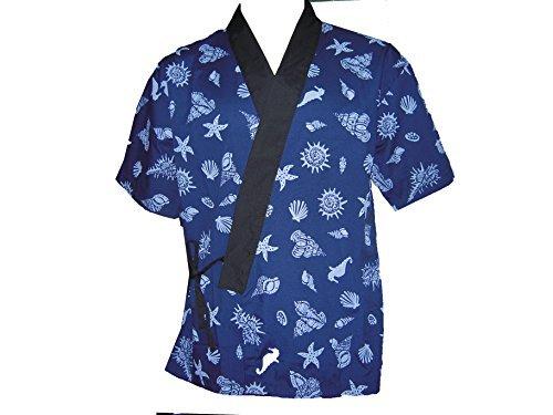 Blue Seashell Sushi Chef Uniform in Extra Large