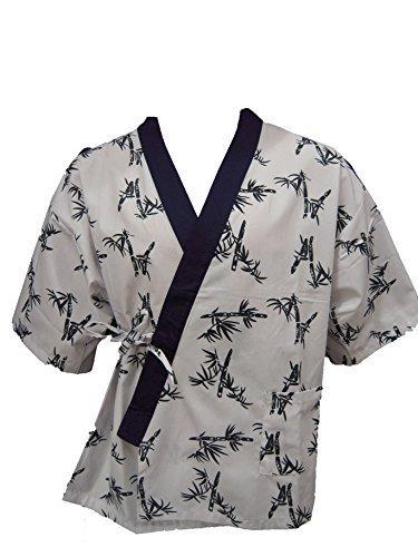 White Bamboo Print Sushi Chef Uniform Medium