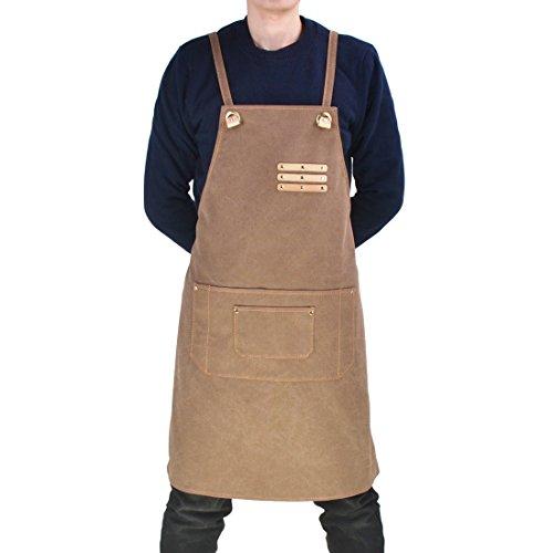 Jiyaru Canvas Unisex Chef Apron Men Women Kitchen Adjustable Workwear with Pocket Khaki