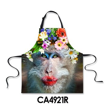 Lqchl Unisex Printed Monkey Kitchen Aprons Women Men Apron Adjustable Chef Apron For Kitchen House Cleaning Servante Aprons CookingA