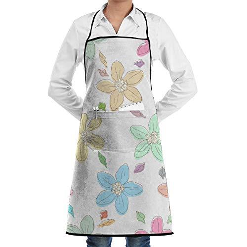 NRIEG Colorful Flowers Petal Pattern Faction Unisex Kitchen Cooking Garden Apron£¬Convenient Adjustable Sewing Pocket Waterproof Chef Aprons