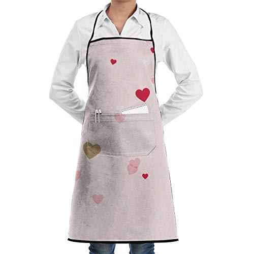 NRIEG Valentine Love Heart Pattern Faction Unisex Kitchen Cooking Garden Apron£¬Convenient Adjustable Sewing Pocket Waterproof Chef Aprons