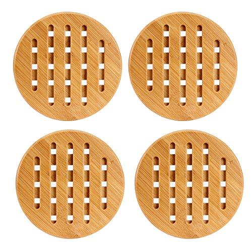 FreeBiz 7 Bamboo Trivet Mat Set Heavy Duty Hot Pot Holder Pads 4 pieces
