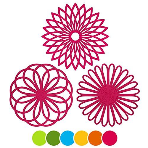 MEFAN 3 Set Silicone Multi-Use Flower Trivet Mat - Premium Quality Insulated Flexible Durable Non Slip Coasters Hot Pads Fuscia