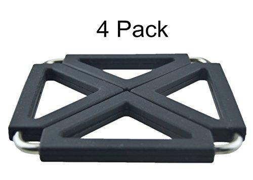 MelonBoat Expandable Silicone Metal Trivet Mat Hot Pot Holder Pads 63 Square Black Set of 4