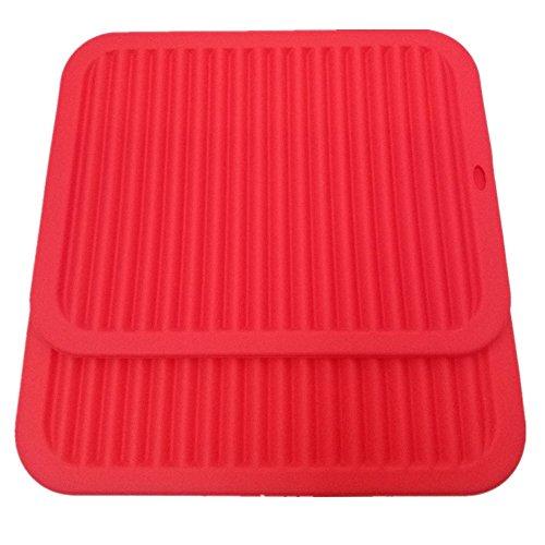 Smithcraft 9X12 Big Silicone Trivets mat Multi-purpose Drying Trivet Mat Pot Holder Waterproof Set of 2 Non Slip Flexible Durable Dishwasher Safe Red