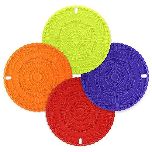 Zanmini 4pcs Trivet Mats  Hot PadsInsulation Durable Flexible Hot PadsPot Holders Spoon Rest Jar Openercolorful