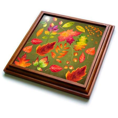 3dRose Uta Naumann Pattern - Colorful Autumn Foliage Pattern-Red Autumn Leaves on Grunge Green - 8x8 Trivet with 6x6 ceramic tile trv_269095_1