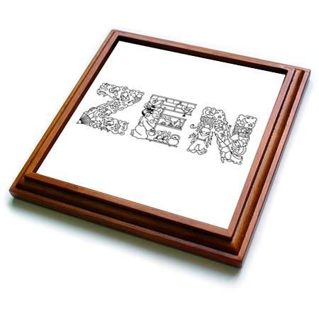 3dRose Alexis Design - Positive - ZEN unique Decorative text - black on white - 8x8 Trivet with 6x6 ceramic tile trv_273101_1