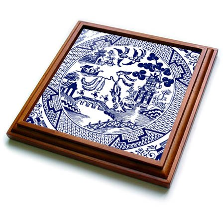 3dRose Russ Billington Designs - Willow Pattern Detail in Blue and White - 8x8 Trivet with 6x6 ceramic tile trv_262242_1