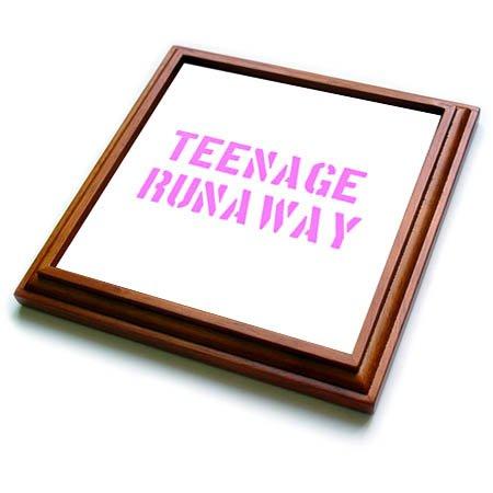 3dRose Uta Naumann Sayings and Typography - Teenage Runaway-Funny Motivation Typography on White - 8x8 Trivet with 6x6 ceramic tile trv_272834_1