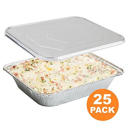 Large Rectangular Disposable Aluminum Foil Steam Table Baking Roast Pans with Flat Lids Half Size 13 x 10 25 Pack