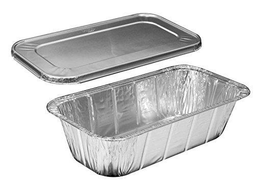Handi-Foil of America Hfa 13 Third-Size Deep Aluminum Foil Steam  5 lb Loaf Pan wFoil Lids Pack of 10 Sets