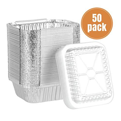 Party Bargains Oblong Aluminum Foil Pan  1 Lb Capacity Container Pans with Plastic Lids Set  55 x 45 Inch Cooking Accessory  50 Pack