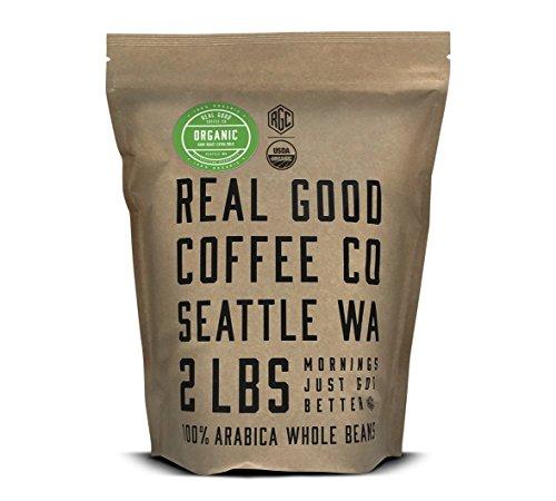 Real Good Coffee Co 2LB Whole Bean Coffee USDA Certified Organic Dark Roast 2 Pound Bag