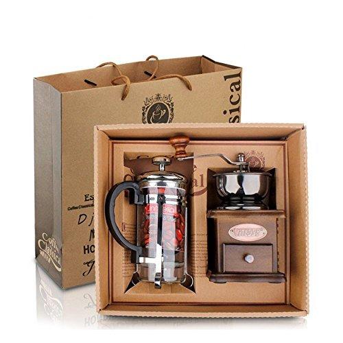 DeFancy Vintage Style Manual Coffee Grinder Hand Grinder French Press Coffeetea Maker Set in Gift Package