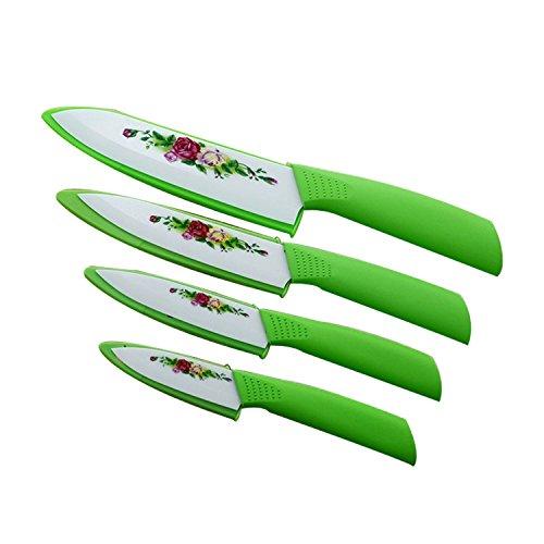 Gohide Green Handle With Flower Printed Design Ceramic Knife Paring Fruit 3 4 5 6 Ceramic Kitchen Knife With Sheath Ceramic Knife Sets