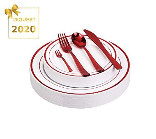 125pcs Disposable Plastic Plates and Cutlery SetParty Tableware - Including 25 Red Trim Dinner Plates 25 Salad or Dessert Plates 25 Polished Red Forks Knives Spoons - Bonus 25 Dessert Forks