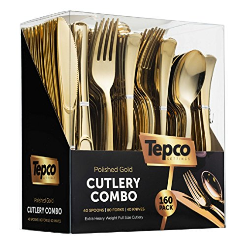 160 Plastic Silverware Set - Plastic Cutlery Set - Disposable Flatware - 80 Plastic Forks 40 Plastic Spoons 40 Cutlery Knives Heavy Duty Silverware for Party Bulk Pack Gold