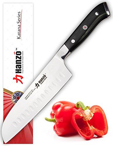 HANZO Santoku 7 inch - Best Edge Retention w UltraEdge™ High Carbon Japanese Steel Granton Blade - VG10 - UltraComfort™ G10 Chef Knife Grip - Ideal Gift