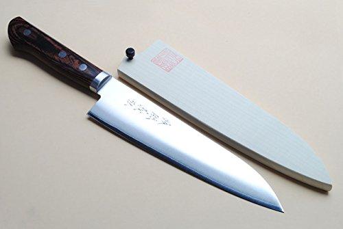 Yoshihiro VG-1 Gold Stainless Steel Gyuto Japanese Chef Knife 7 180mm Magnolia Wood Saya Cover