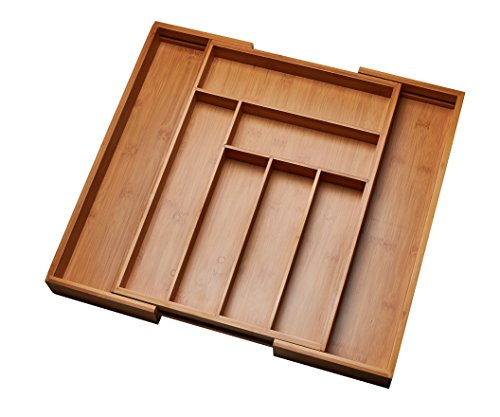 Kitchen Drawer Organizer Adjustable Drawer Dividers to Fit Snugly Into Any Kitchen Drawer Attractive Bamboo Wood Flatware Cutlery and Utensil Tray is Also a Great Drawer Organizer Around the Home