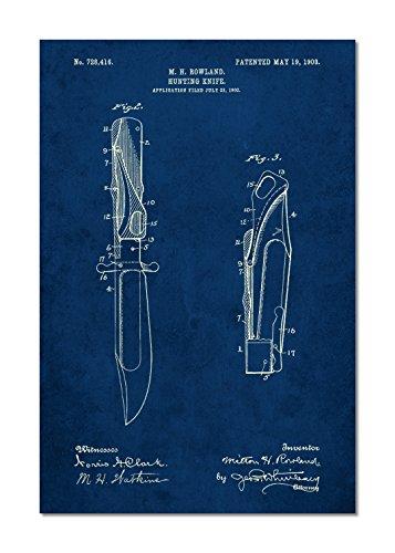 PatentPrints Folding Hunting Knife 1902 Patent Poster Color Navy Size 11x17