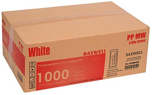 Daxwell Polypropylene Medium Weight White Cutlery Kit with Spork Straw 8 x 10 Napkin Case of 1000