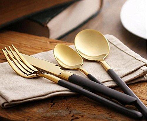 16 Pieces Dinner Tableware Knife Fork Soup Spoon Dessert Spoon Flatware - Retro Black Handle Gold Set of 4