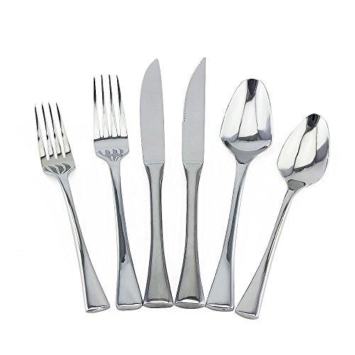 6 Pieces Flatware Set Dinnerware Set Wedding Travel Cutlery SetEALEK 1810 Stainless Steel Silverware Set Dinner Fork Spoon Knife Scoops Tableware Set Dishwasher Safe Silver