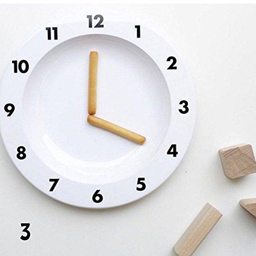 LEIZENG Letters Plate Snacks Fruit Alphabet Plate Kid Baby Feeding Dinner Tableware Clock