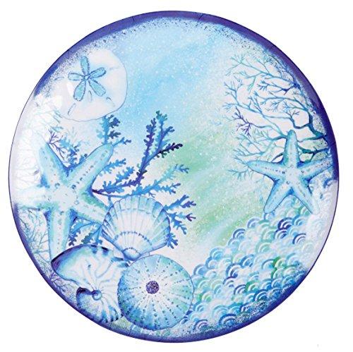 Nantucket Home Blue Sea Life Round Melamine Serving Platter 16-Inch