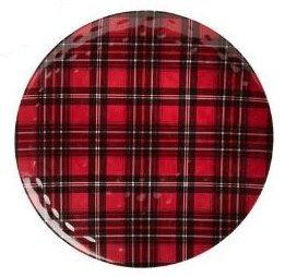 Nantucket Home Christmas Plaid Round Melamine Serving Platter 175-Inch Red