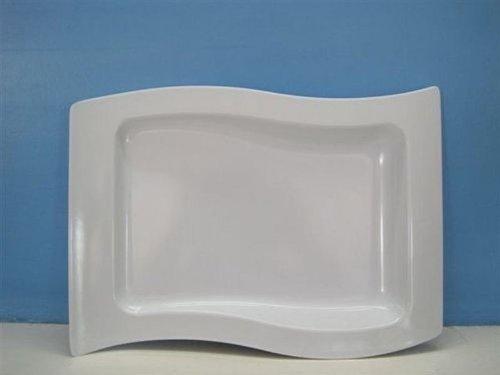 Standa Set of 2 Square Wave White Melamine Serving Platter - 13 x 95 Inch