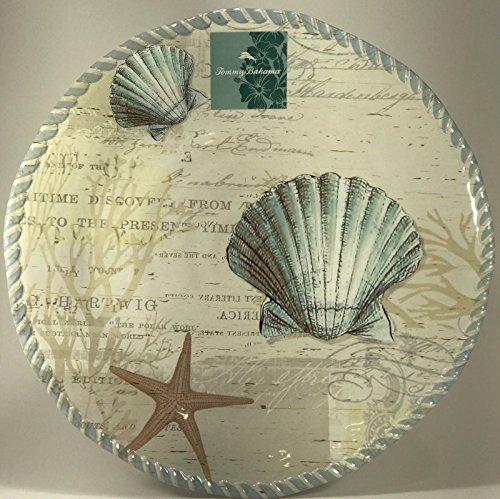 Tommy Bahama Seashell Seashore Large Round Melamine Serving Platter 16